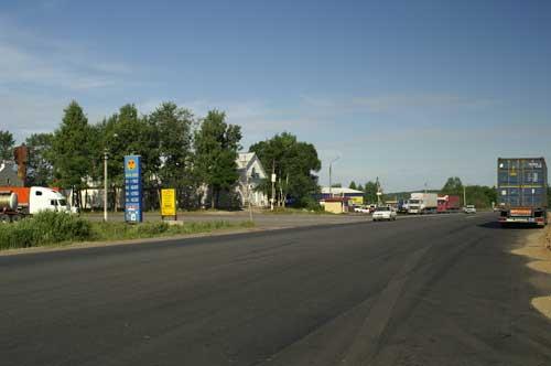 Вид на поворот со стороны едущего из Москвы